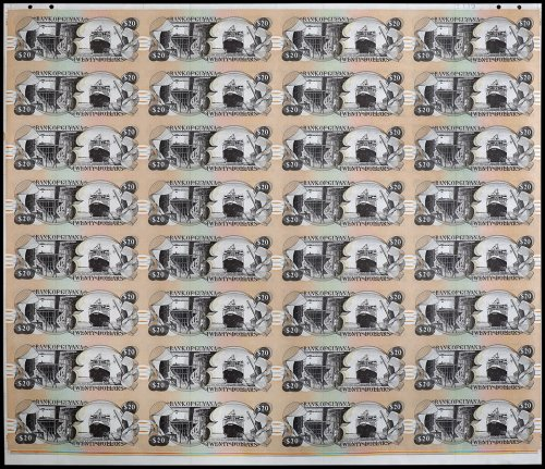 Guyana 20 Dollars, 1996, P-30, 32 Pieces Uncut Sheet, UNC
