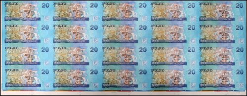 Fiji 20 Dollars Banknote, 2013, P-117a, 20 Pieces Uncut Sheet, UNC