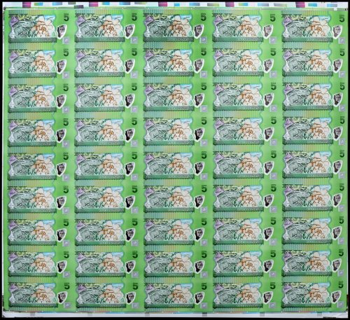 Fiji 5 Dollars Banknote, 2013, P-115a, 45 Pieces Uncut Sheet, UNC