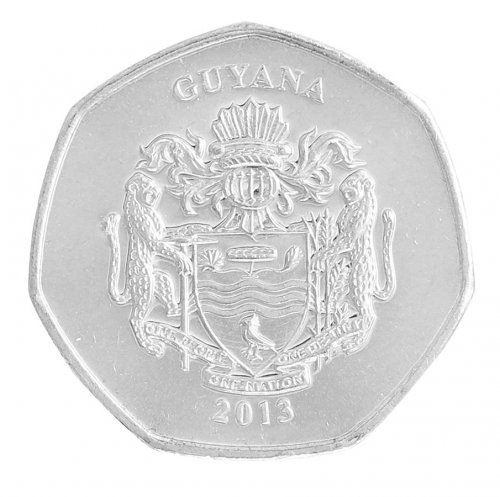 Guyana 10 Dollars 5g Nickel Plated Steel Coin, 2013, KM # 52, Mint