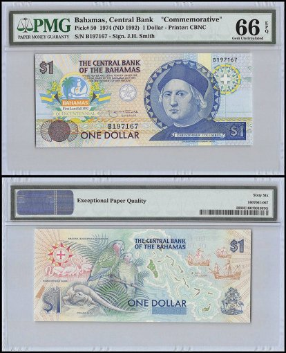 Bahamas 1 Dollar, 1974 - ND 1992, P-50, PMG 66