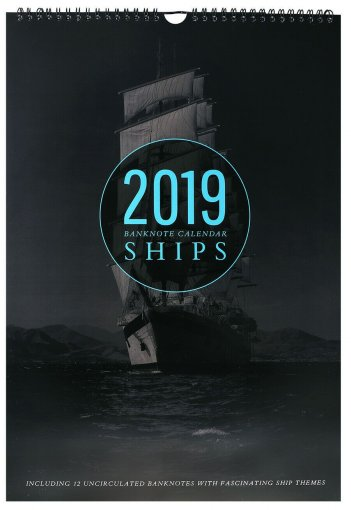 Banknote Calendar 12 Banknotes from Mixed Countries, 2019, UNC, Ships, Ocean