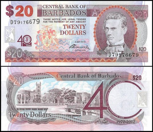 Barbados 20 Dollars Banknote, 2012, P-72, UNC, Commemorating 40 Years of Central Bank