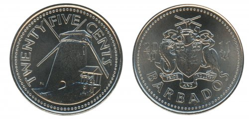 Barbados 25 Cents 5.1g Nickel Plated Steel Coin, 2011, KM # 13a, Mint, Windmill