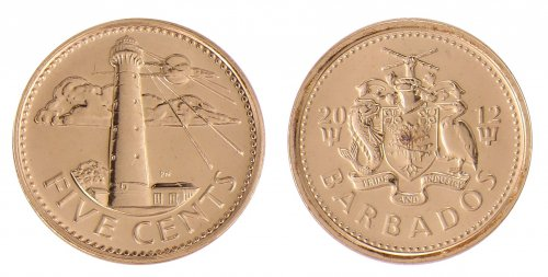 Barbados 5 Cents 3.75g Brass Plated Steel Coin, 2012, KM # 11a, Mint, Lighthouse