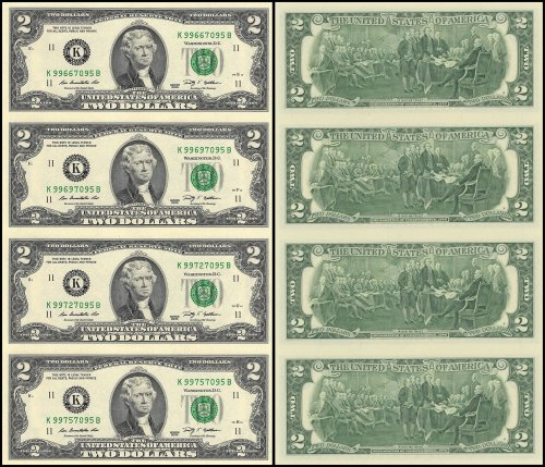 United States of America - USA 2 Dollars, Limited Edition Banknote Folder, 4 Pieces Uncut Sheet, 2009, P-530A, UNC