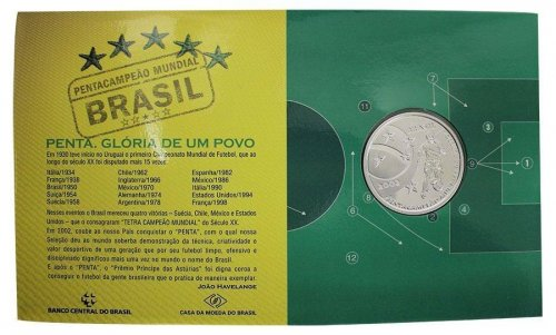 Brazil 5 Reais Silver Proof Coin, 2002, Mint, KM # 661, The Glory of the Nation