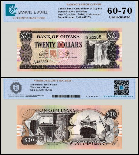 Guyana 20 Dollars Banknote, 2016, P-30, UNC, TAP 60 - 70 Authenticated