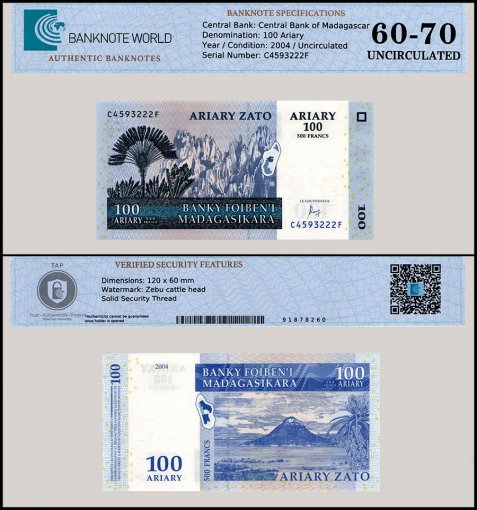 Madagascar 100 Ariary Banknote, 2004, P-86c, UNC, TAP 60 - 70 Authenticated