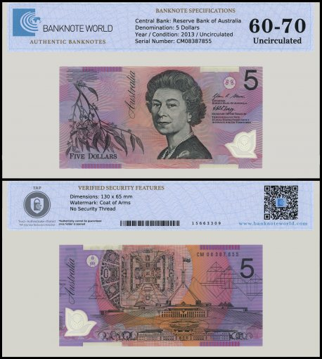 Australia 5 Dollars Banknote, 2013, P-57d, UNC, TAP 60 - 70 Authenticated