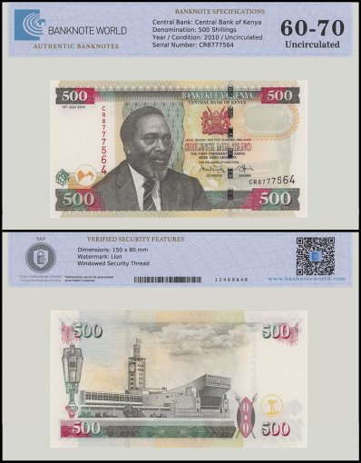 Kenya 500 Shillings Banknote, 2010, P-50e, UNC, TAP 60 - 70 Authenticated