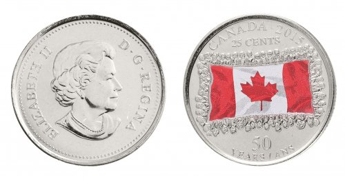 Canada 25 Cents 4.4 g Nickel Plated Steel Coin, 2015, KM # 1851.1, Colored Flag