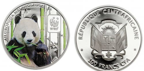 Central Africa 100 Francs 25g Copper Silver Plated Coin, 2015, Mint, WWF, Panda