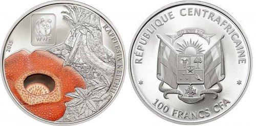 Central Africa 100 Francs 25g Copper Silver Plated Coin, 2015, WWF, Rafflesia