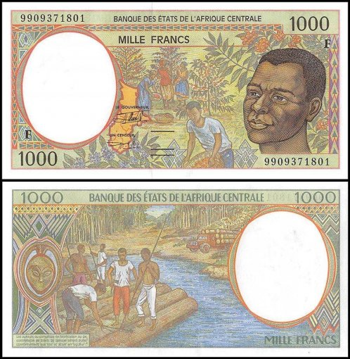 Central African States - Congo 1,000 Francs Banknote, 1999, P-302Ff, UNC