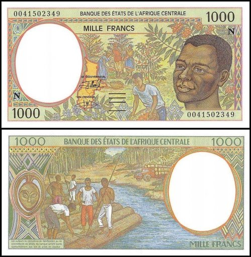 Central African States - E. Guinea 1,000 Francs Banknote, 2000, P-502Nh, UNC