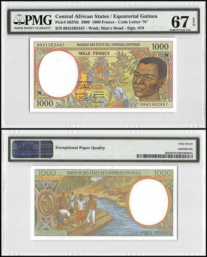 Central African States 1,000 Francs, 2000, P-502Nh, PMG 67