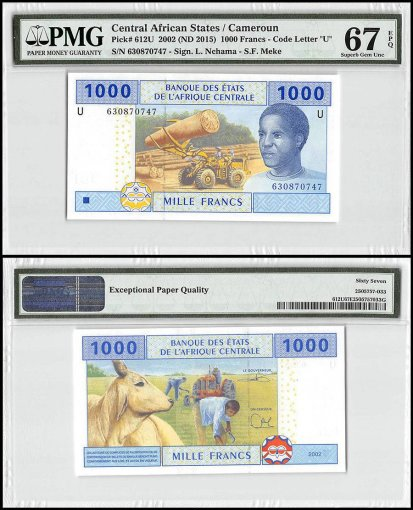 Central African States 1,000 Francs, 2002 - ND 2015, P-612U, PMG 67