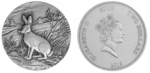 Niue 2 Dollars 1oz Silver Coin, 2015, Swiss Wildlife, Mountain Hare, Queen Elizabeth