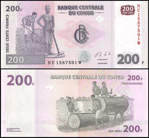 Congo Democratic Republic 200 Francs Banknote, 2013, P-99c, UNC