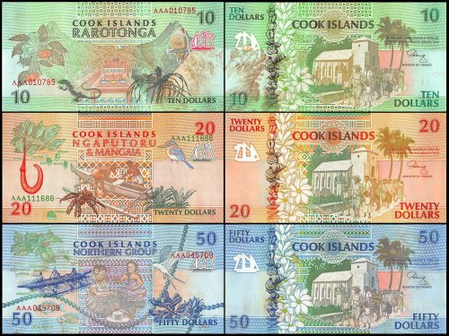 Cook Islands 10 - 50 Dollar 3 Piece Set, 1992, P-8-10, UNC, STAINED, Church, Pacific Ocean