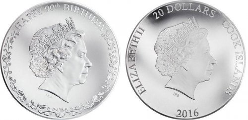 Cook Islands 20 Dollars 3oz Silver Proof Coin, 2016, Queen Elizabeth II 90th B-day