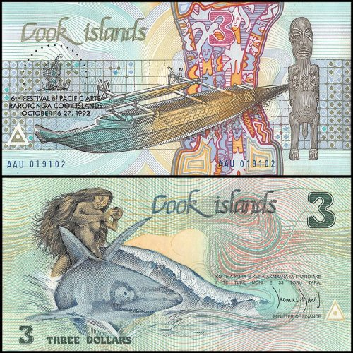 Cook Islands 3 Dollars Banknote, 1992, P-6, UNC, STAINED, 6th Festival of Pacific Arts, Rarotnga