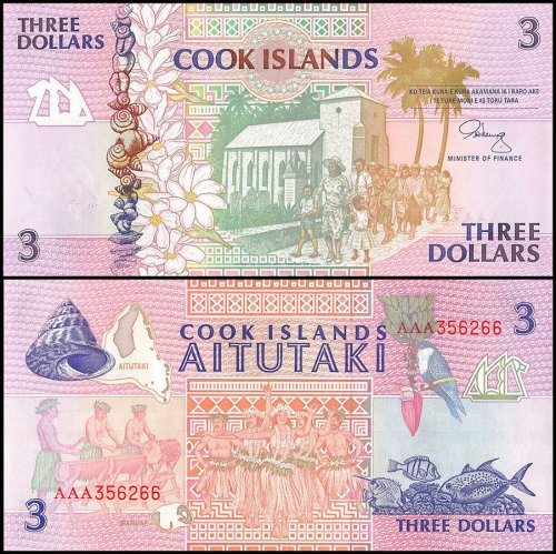 Cook Islands $3 Dollars Banknote, 1992, P-7, UNC