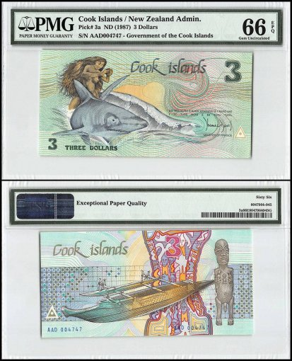 Cook Islands 3 Dollars, 1987, P-3a, PMG 66