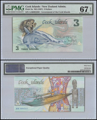 Cook Islands 3 Dollars, ND 1987, P-3a, PMG 67