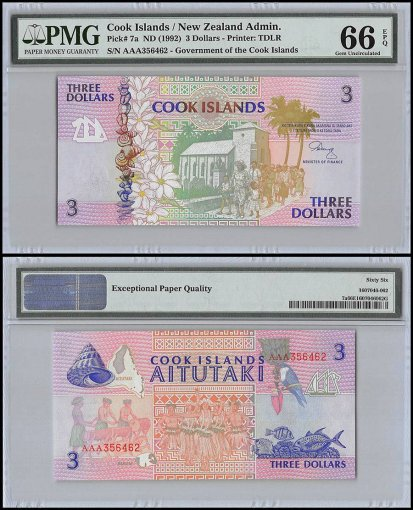 Cook Islands 3 Dollars, ND 1992, P-7a, PMG 66