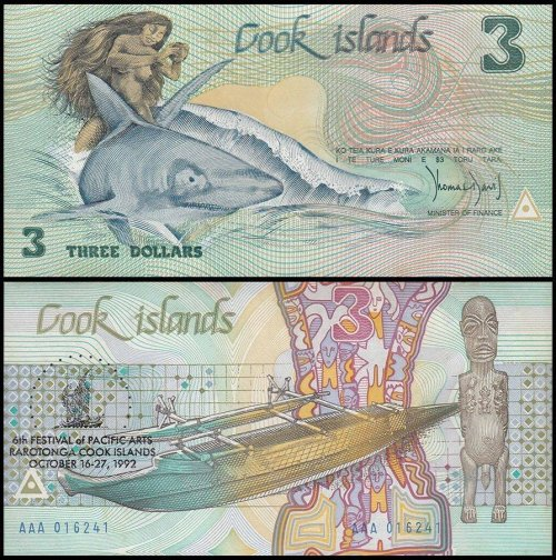 Cook Islands-Aitutakis 3 Dollars Banknote, 1992, P-6, UNC
