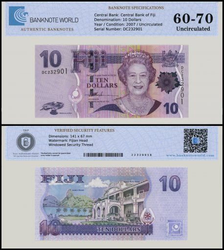 Fiji 10 Dollars Banknote, 2007, P-111a, UNC, TAP 60 - 70 Authenticated