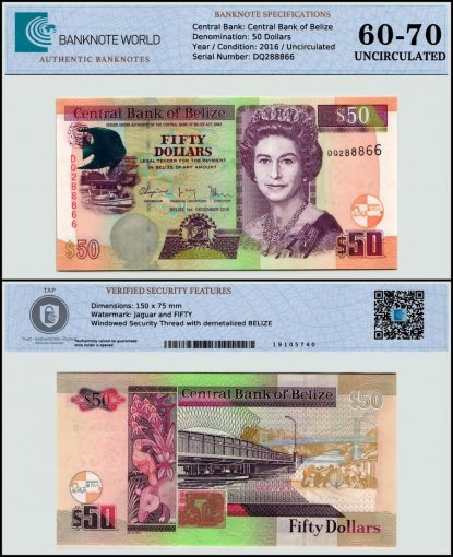 Belize 50 Dollars Banknote, 2016, P-76a, UNC, TAP 60-70 Authenticated