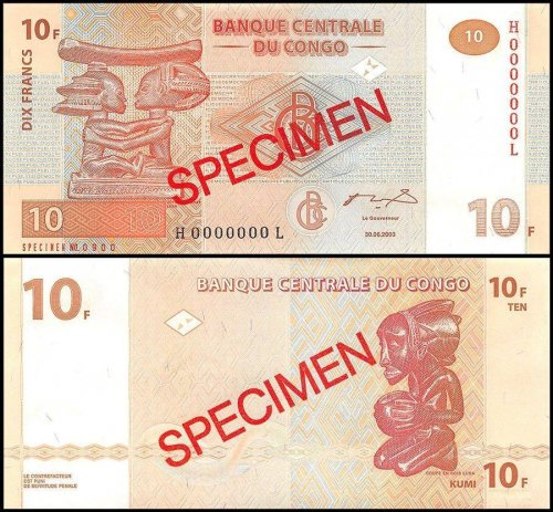 Democratic Republic of Congo 10 Francs Banknote, 2003, P-93s, UNC, Specimen