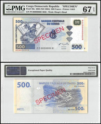 Democratic Republic of Congo 500 Francs, 2002 - ND 2004, P-96s, Specimen, PMG 67
