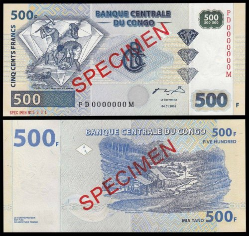 Democratic Republic of Congo 500 Francs Banknote, 2002, P-96s, UNC, Specimen