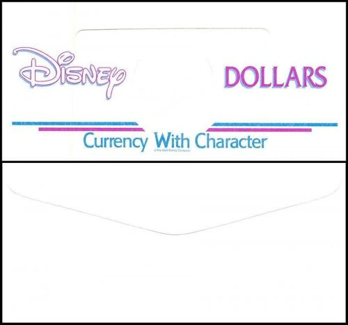 Disney Dollars Envelope, Currency with Character