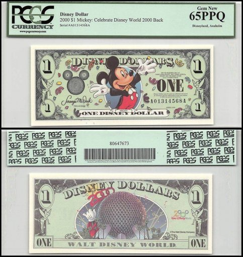Disneyworld 1 Disney Dollar, 2000, R-65, A-A Series, PCGS 65 PPQ