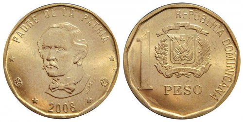 Dominican Republic 1 Peso 6.5g Brass Coin, 2008, KM # 80, Mint, Founding Fr. Duarte