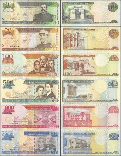 Dominican Republic 10 - 2,000 Pesos Oro 6 Piece Full Set, 2003, P-168c-174b, UNC