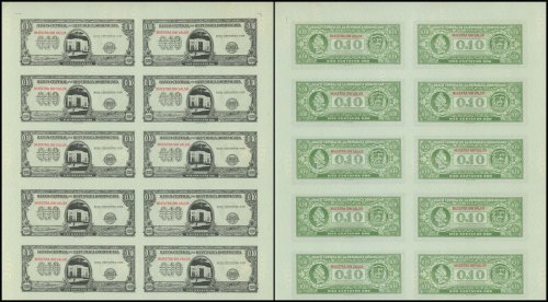Dominican Republic 10 Centavos Oro, 1961, P-85, Used, Specimen, 10 Piece Uncut Sheet