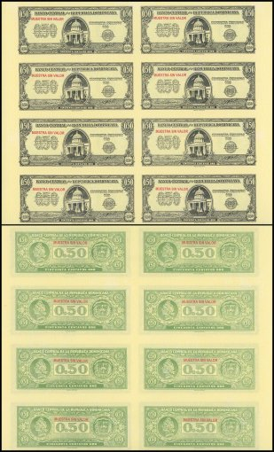 Dominican Republic 50 Centavos Oro, 1961, P-90s, Specimen, 8 Pieces Uncut Sheet, UNC