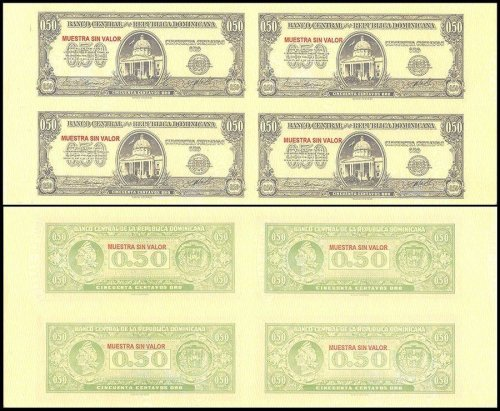 Dominican Republic 50 Centavos Oro, 1961, P-90s, Used, Specimen, 4 Piece Uncut Sheet