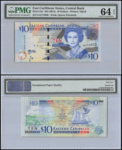 East Caribbean States 10 Dollars, ND 2012, P-52, Queen Elizabeth II, PMG 64