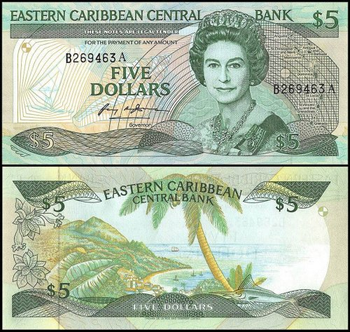 East Caribbean States, Antigua $5 Dollars Banknote, 1988-93, P-22a1, UNC, Queen Elizabeth II,