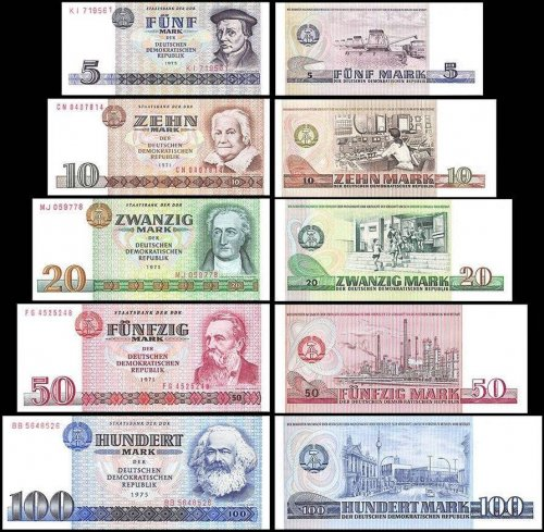 East Germany 5 - 100 Mark 5 Piece Full Set, 1971-1975, P-27a-31a, UNC