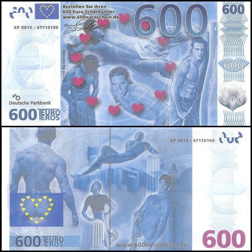 Europe 600 Euro Sex Novelty / Fantasy Banknote, UNC