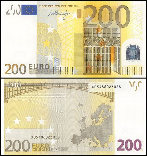 European Union - Germany 200 Euro Banknote, 2002, P-19x, Prefix -X, Serial #, UNC