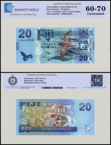 Fiji 20 Dollars Banknote, 2013, P-117a, UNC, TAP 60-70 Authenticated